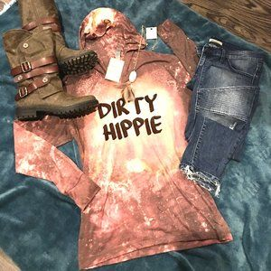 Dirty Hippie, bleached, long sleeve hooded t shirt